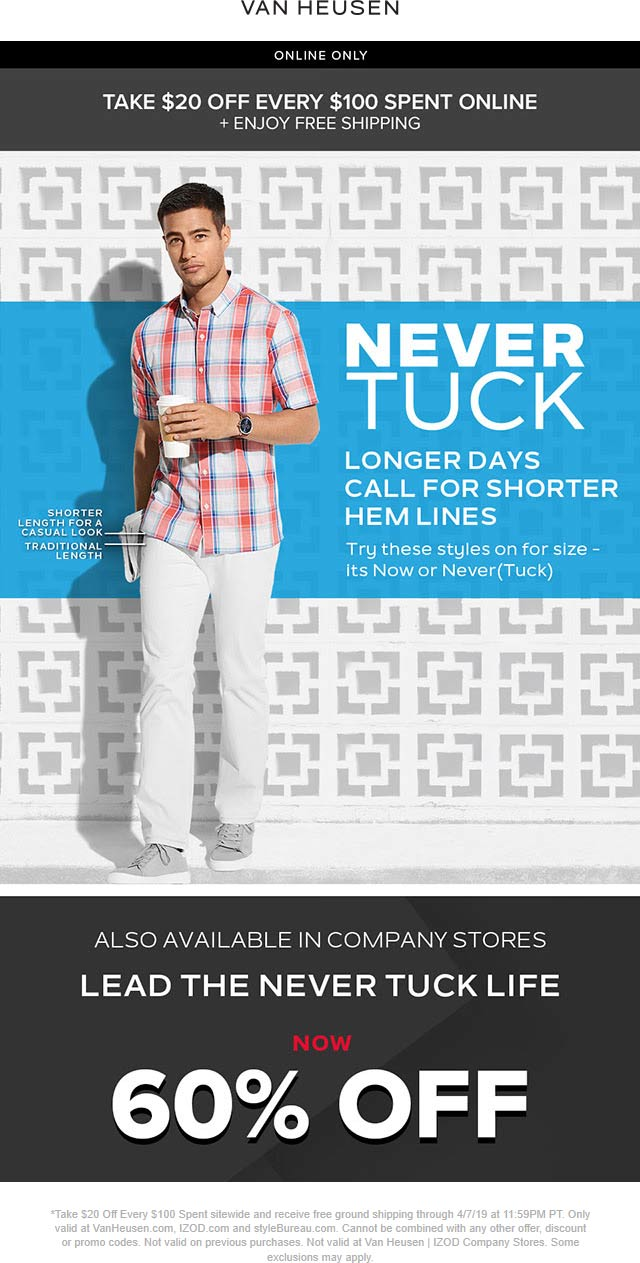 Van Heusen Coupon January 2020 $20 off every $100 online at Van Heusen