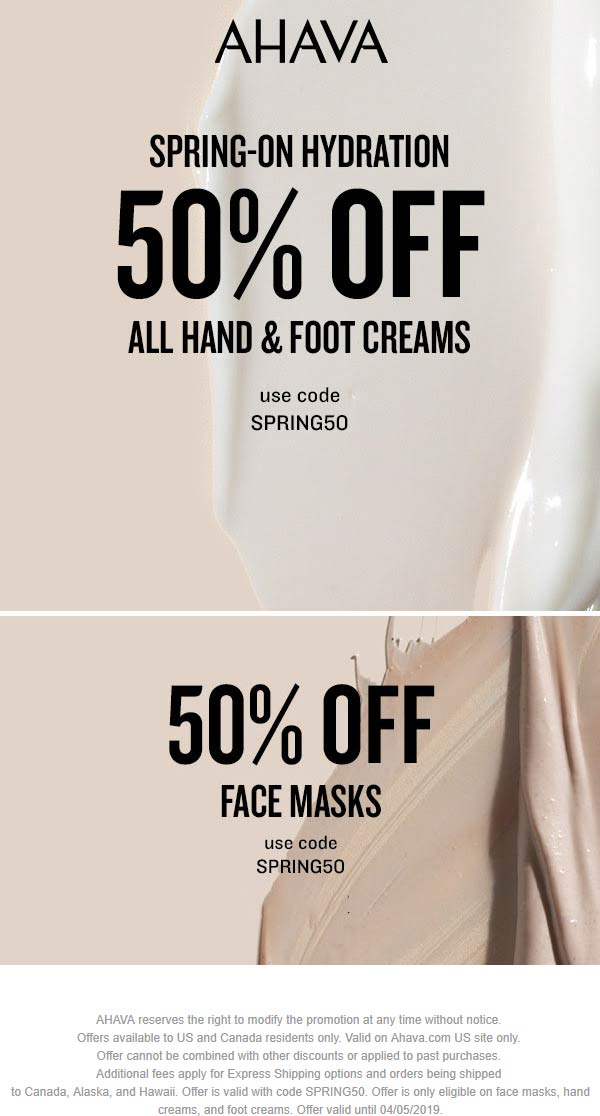 AHAVA Coupon November 2019 50% off all hand & foot creams online at AHAVA via promo code SPRING50