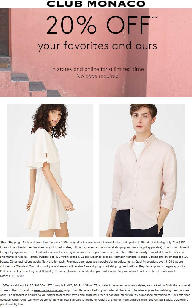 Club Monaco Coupon May 2019 20% off at Club Monaco, ditto online