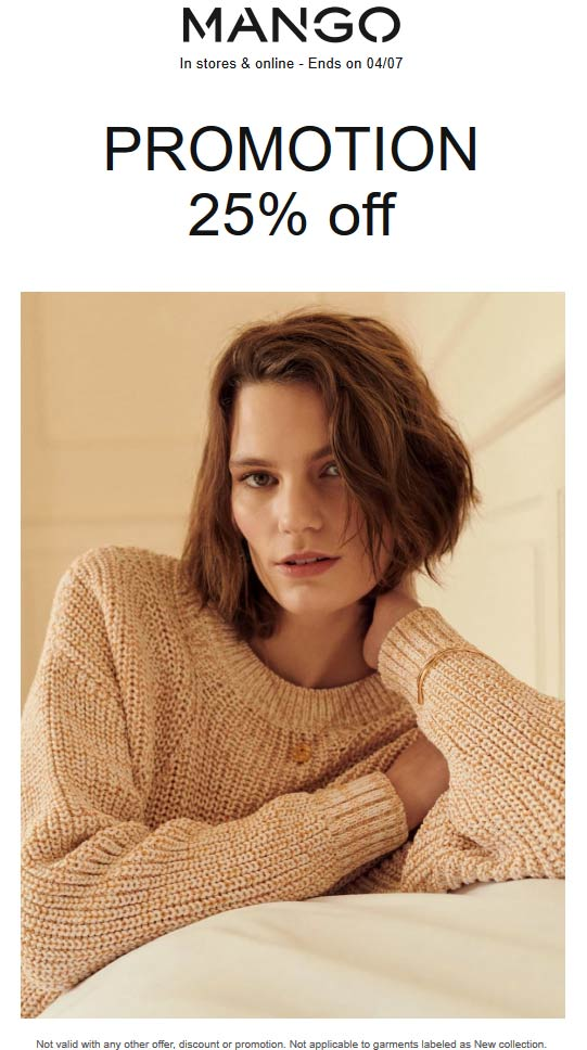 Mango Coupon July 2019 25% off at Mango, ditto onlilne