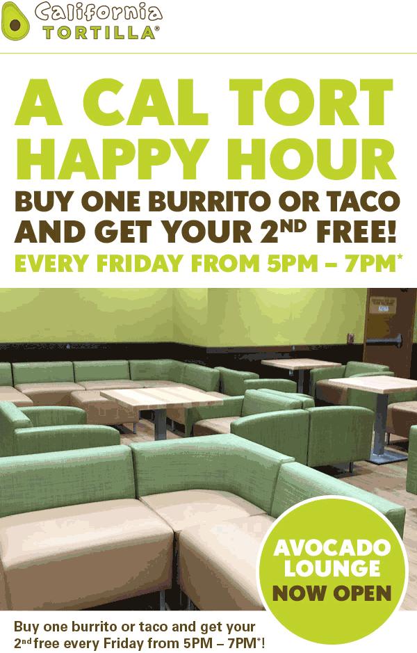 California Tortilla Coupon November 2019 Second burrito or taco free 5-7p today at California Tortilla