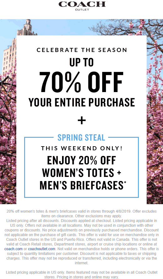 Coach.com Promo Coupon 70% off & more at Coach Outlet