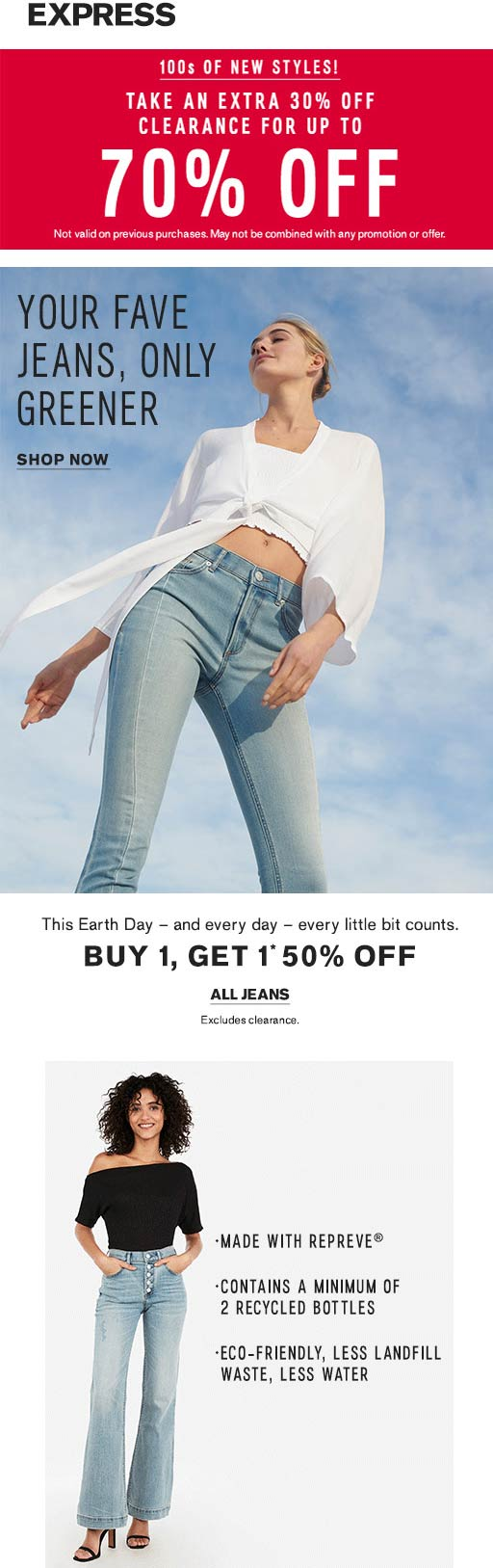 Express Coupon June 2019 Extra 30% off clearance & more at Express, ditto online