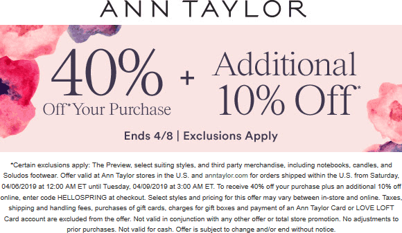 Ann Taylor Coupon November 2019 50% off at Ann Taylor, ditto online