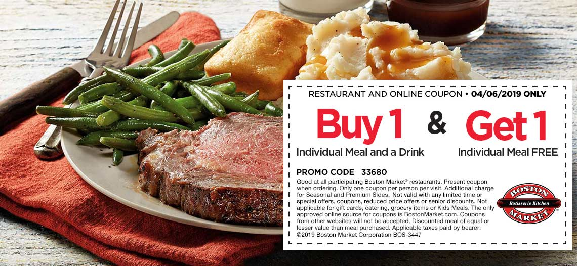Boston Market Coupon July 2019 Second meal free today at Boston Market