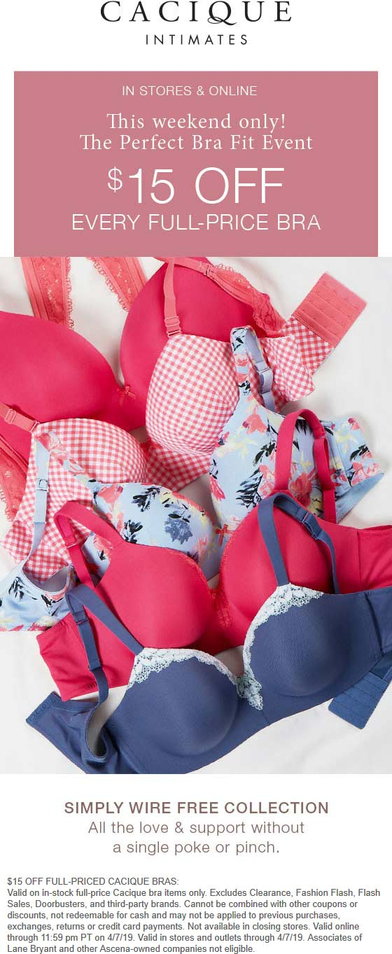 Cacique Coupon May 2019 $15 off bras at Cacique, ditto online