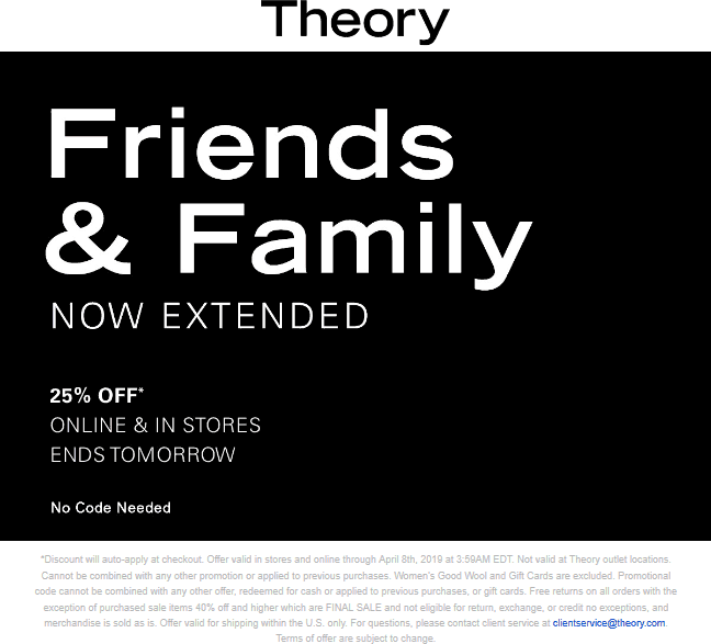 Theory.com Promo Coupon 25% off at Theory, ditto online