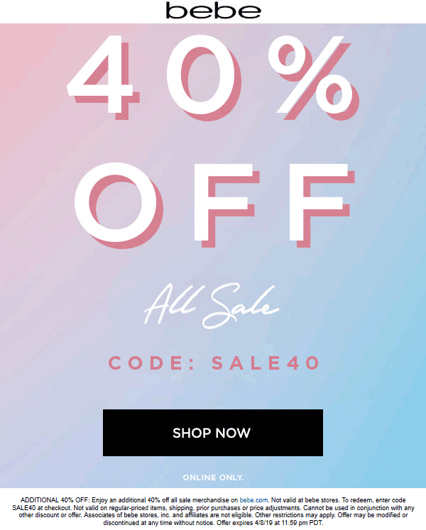 Bebe Coupon May 2019 Extra 40% off sale items online at bebe via promo code SALE40
