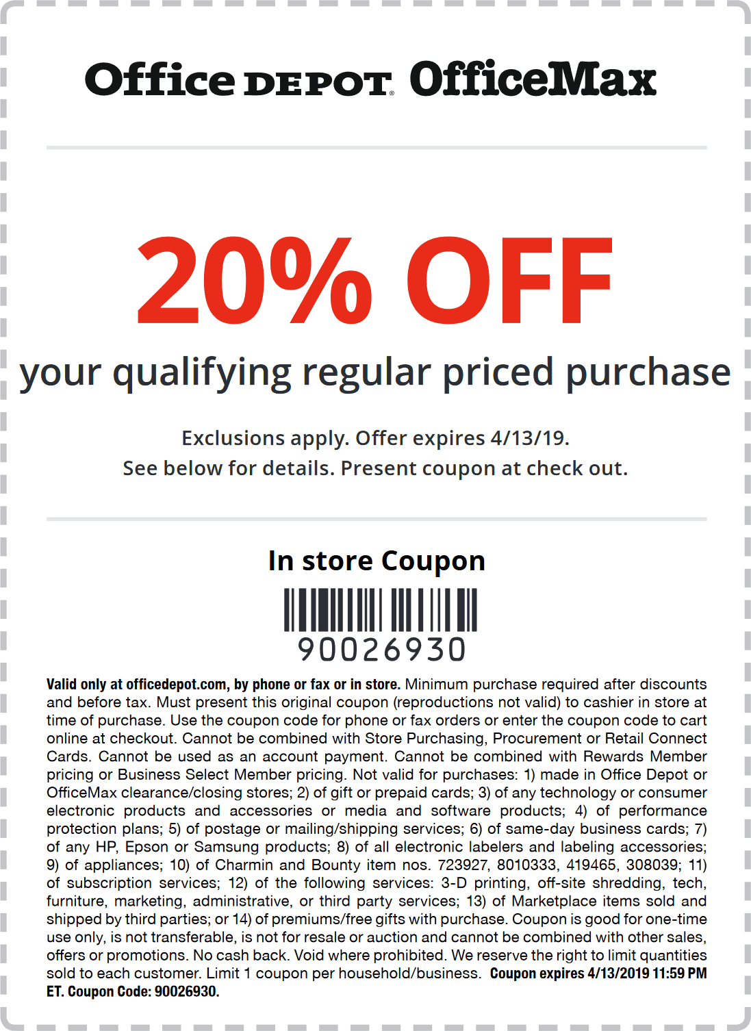 Office Depot Coupon November 2019 20% off at Office Depot & OfficeMax, or online via promo code 90026930