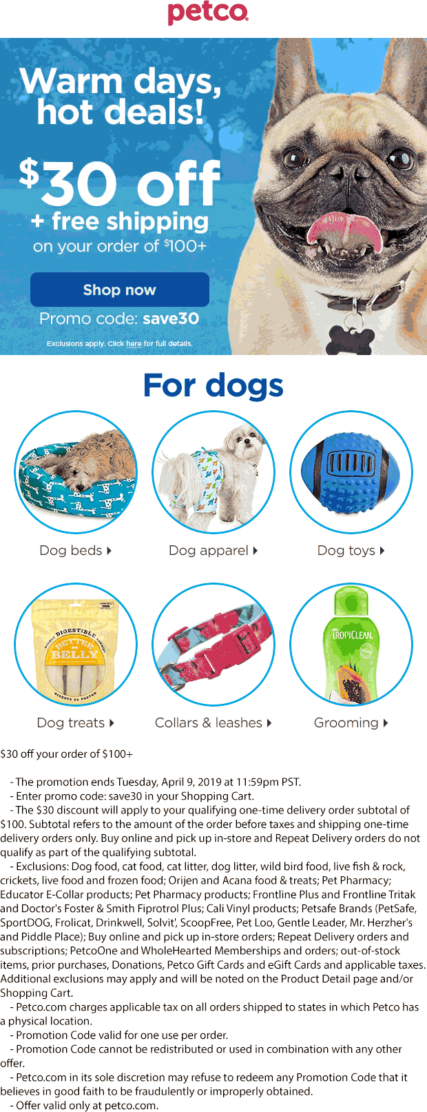 Petco Coupon January 2020 $30 off $100 online at Petco via promo code save30