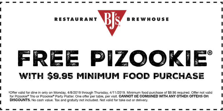 BJs Restaurant Coupon July 2019 Free pizookie with $10 spent at BJs Restaurant