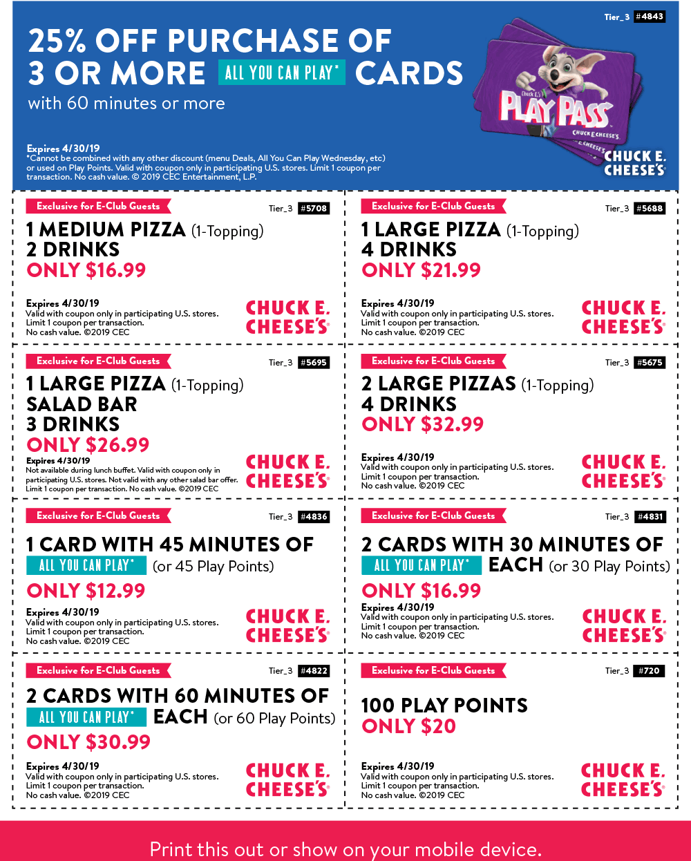 Chuck E. Cheese Coupon May 2019 100 play points for $20 & more at Chuck E. Cheese pizza
