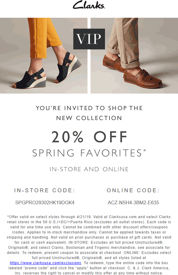 Clarks Coupon January 2020 20% off Spring faves at Clarks, or online via promo code ACZ-NSH4-3BM2-E635