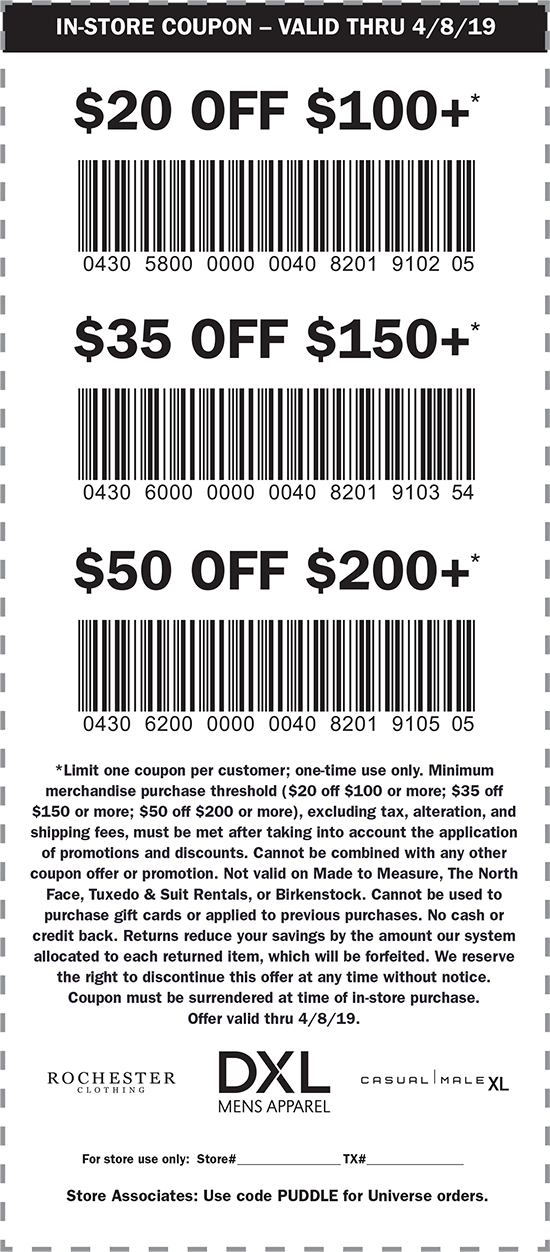 DXL Coupon June 2019 $20 off $100 & more today at DXL