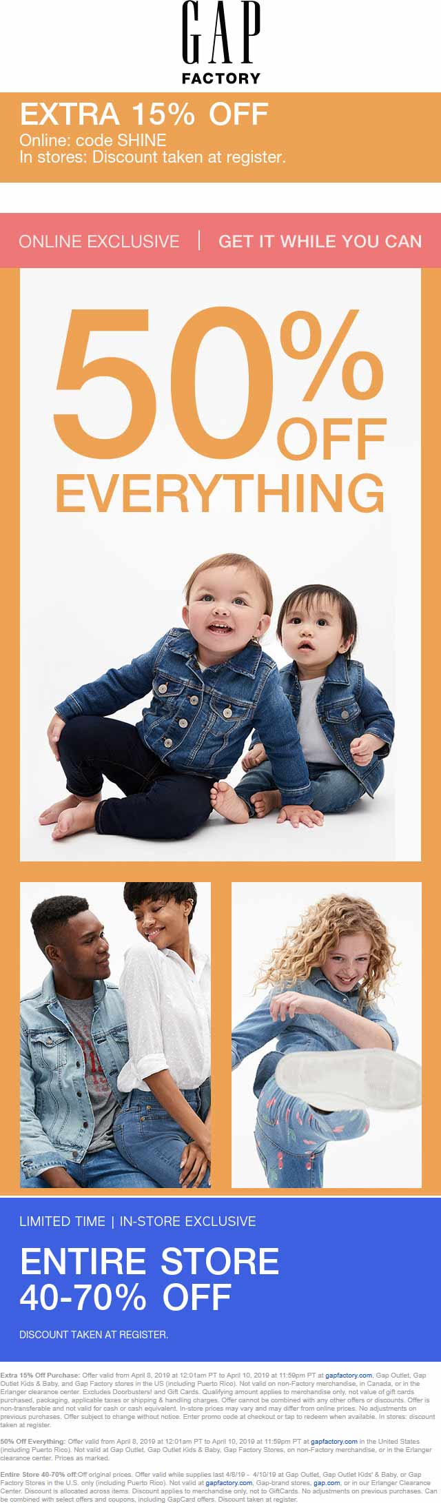 Gap Factory Coupon May 2019 50-70% off everything at Gap Factory, or online via promo code SHINE