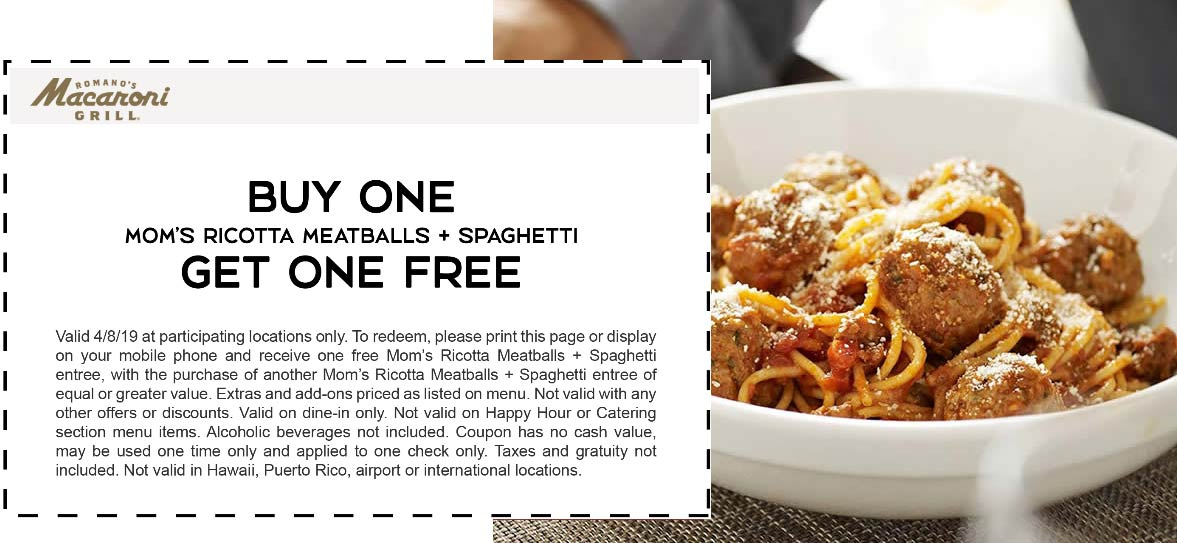 Macaroni Grill Coupon November 2019 Second spaghetti & meatballs free today at Macaroni Grill restaurants
