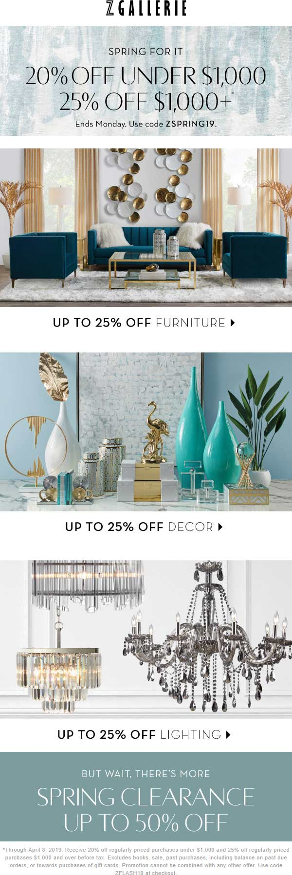 Z Gallerie Coupon July 2019 20-25% off today at Z Gallerie, or online via promo code ZSPRING19