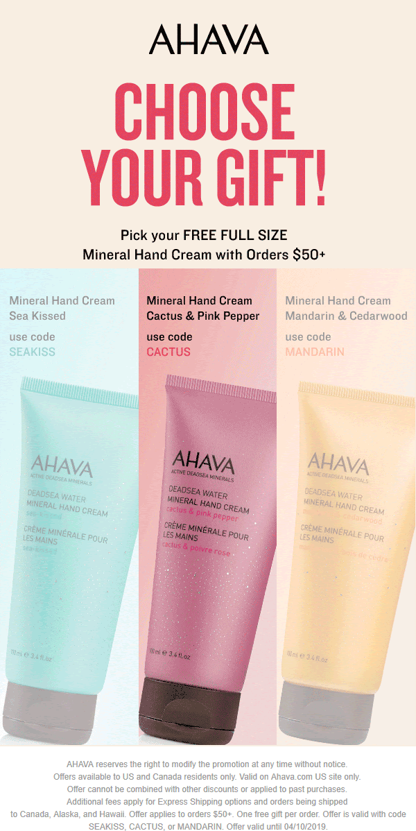 AHAVA Coupon January 2020 Free full size hand cream with $50 spent online at AHAVA via promo SEAKISS, CACTUS, or MANDARIN