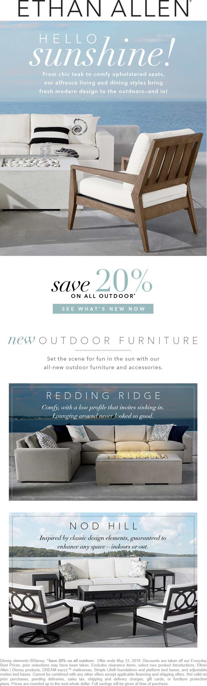 Ethan Allen Coupon October 2019 20% off outdoor at Ethan Allen, ditto online