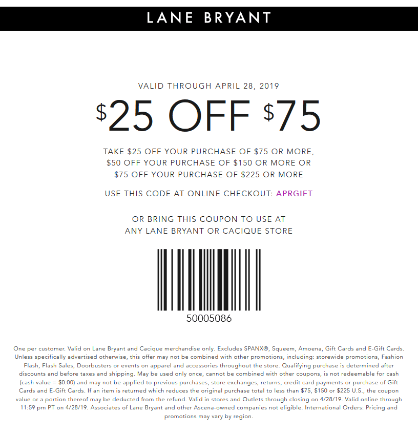 Lane Bryant Coupon November 2019 $25 off $75 at Lane Bryant, or online via promo code APRGIFT