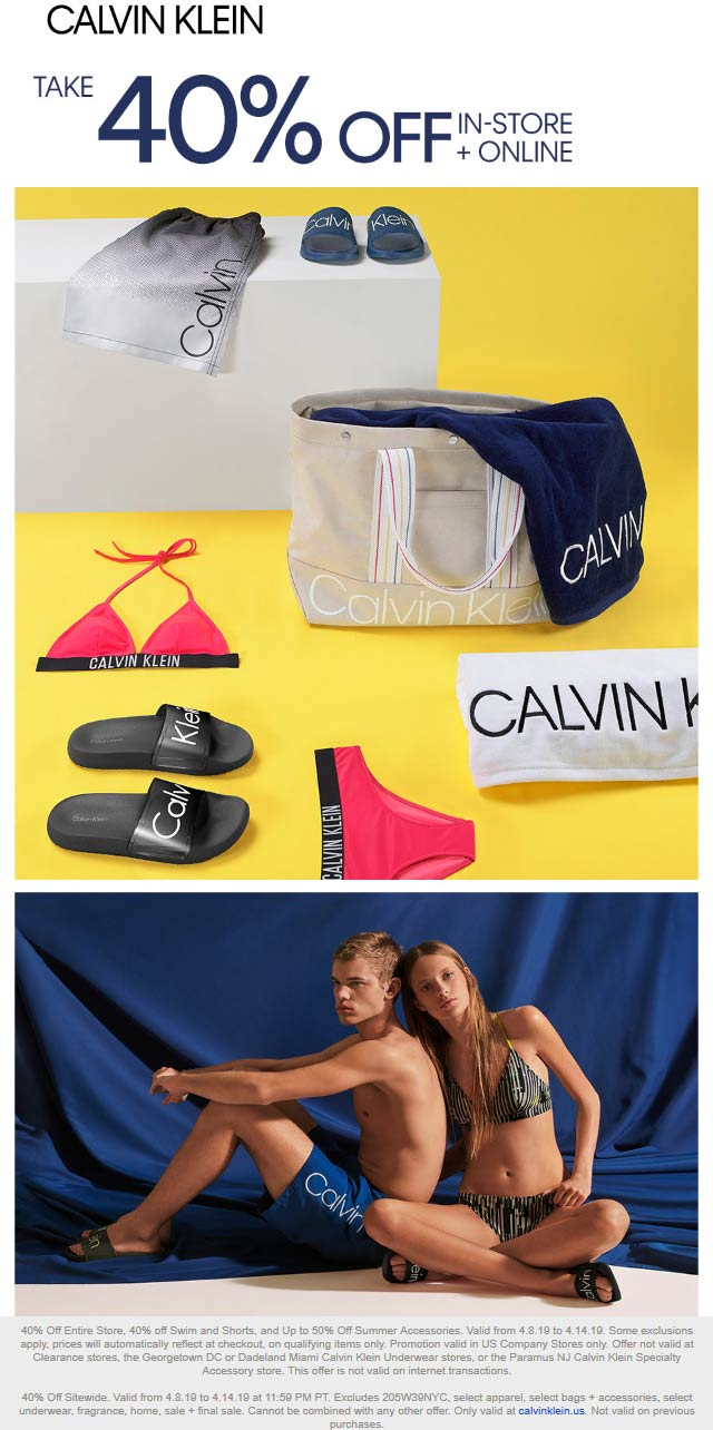 Calvin Klein Coupon May 2019 40% off everything at Calvin Klein, ditto online
