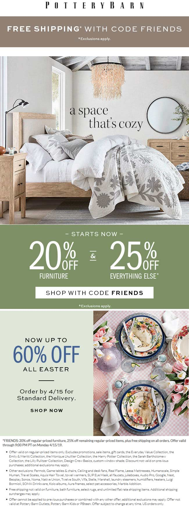 Pottery Barn Coupon May 2019 20-25% off at Pottery Barn, or online via promo code FRIENDS