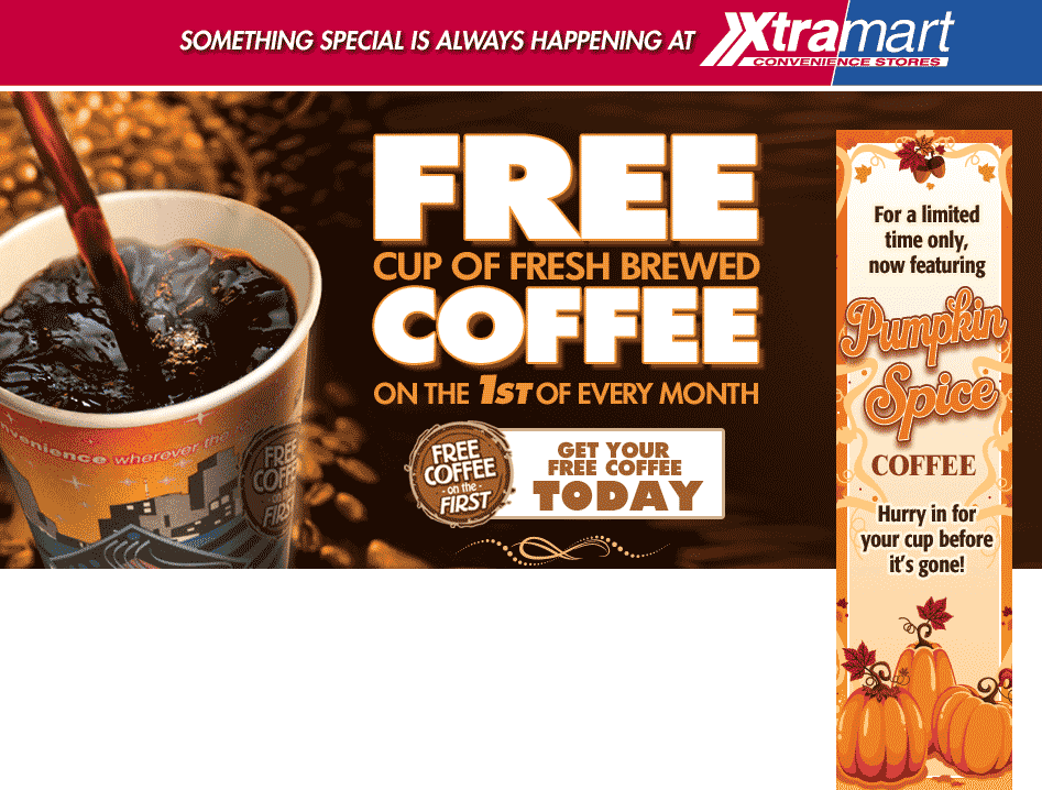 Xtra Mart Coupon September 2017 Free coffee today at Xtra Mart gas stations
