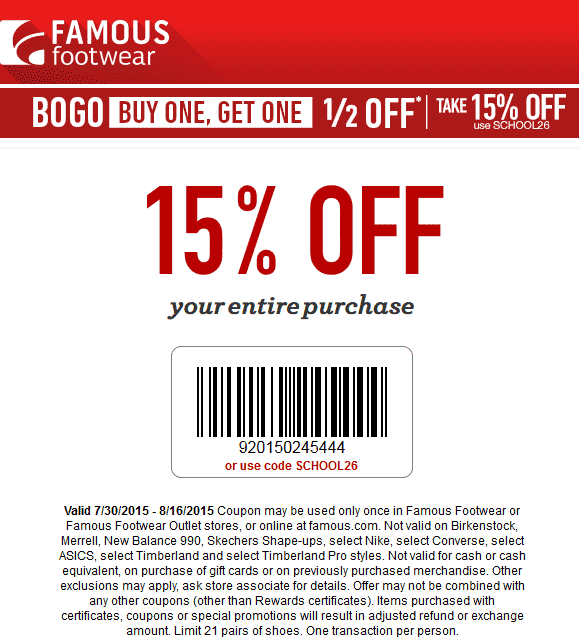 Famous Footwear Coupon February 2017 15% off everything at Famous Footwear, or online via promo code SCHOOL26