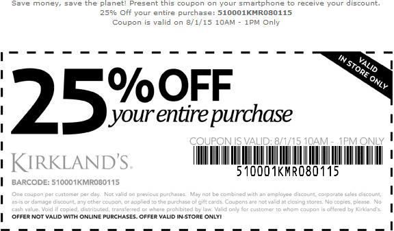 Kirklands Coupon September 2017 25% off everything til 1pm today at Kirklands