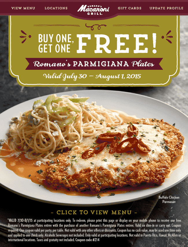 Macaroni Grill Coupon April 2017 Second parmigiana plate free today at Macaroni Grill
