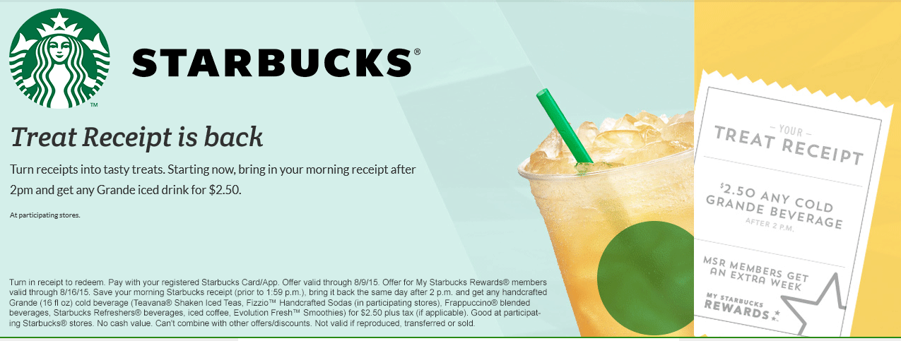Starbucks Coupon October 2018 Morning receipt returned after 2pm enables a $2.50 grande frappuccino at Starbucks