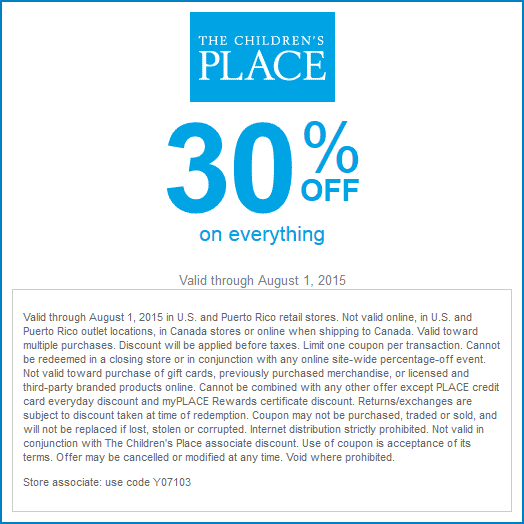The Childrens Place Coupon November 2017 30% off today at The Childrens Place