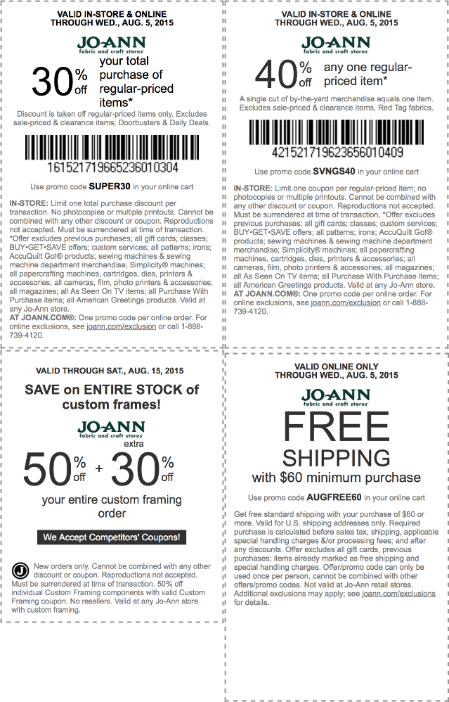 Jo-Ann Fabric Coupon July 2017 30% off the tab, 40% off a single item at Jo-Ann Fabric, or online via promo code SVNGS40