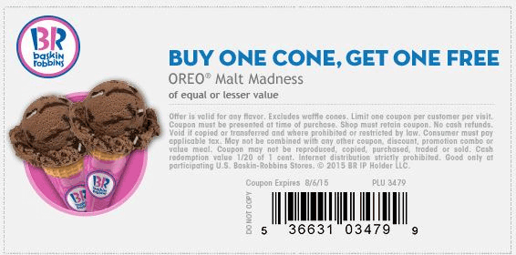 Baskin Robbins Coupon March 2017 Second ice cream cone free at Baskin Robbins