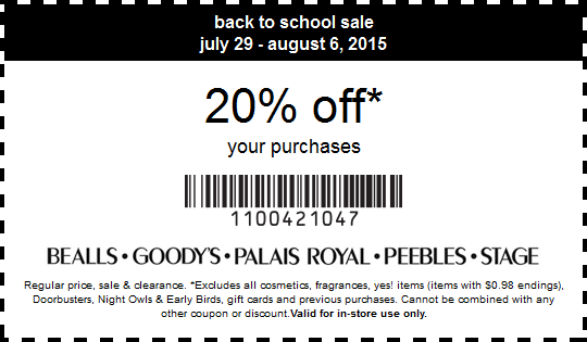 Bealls Coupon January 2017 20% off at Bealls, Goodys, Palais Royal, Peebles & Stage stores, or online via promo code SAVINGS