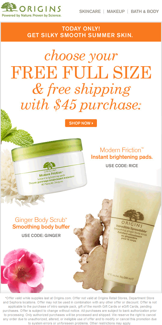 Origins Coupon April 2018 Free full-size item & shipping online with $45 spent today at Origins
