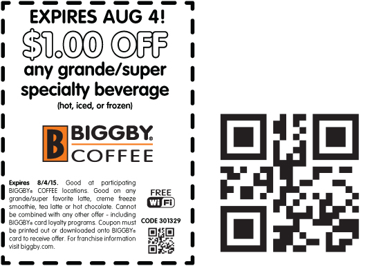 Biggby Coffee Coupon October 2016 Shave a buck off your drink today at Biggby Coffee