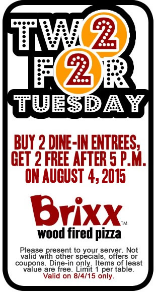 Brixx Coupon March 2017 4-for-2 entrees today after 5pm at Brixx wood fired pizza