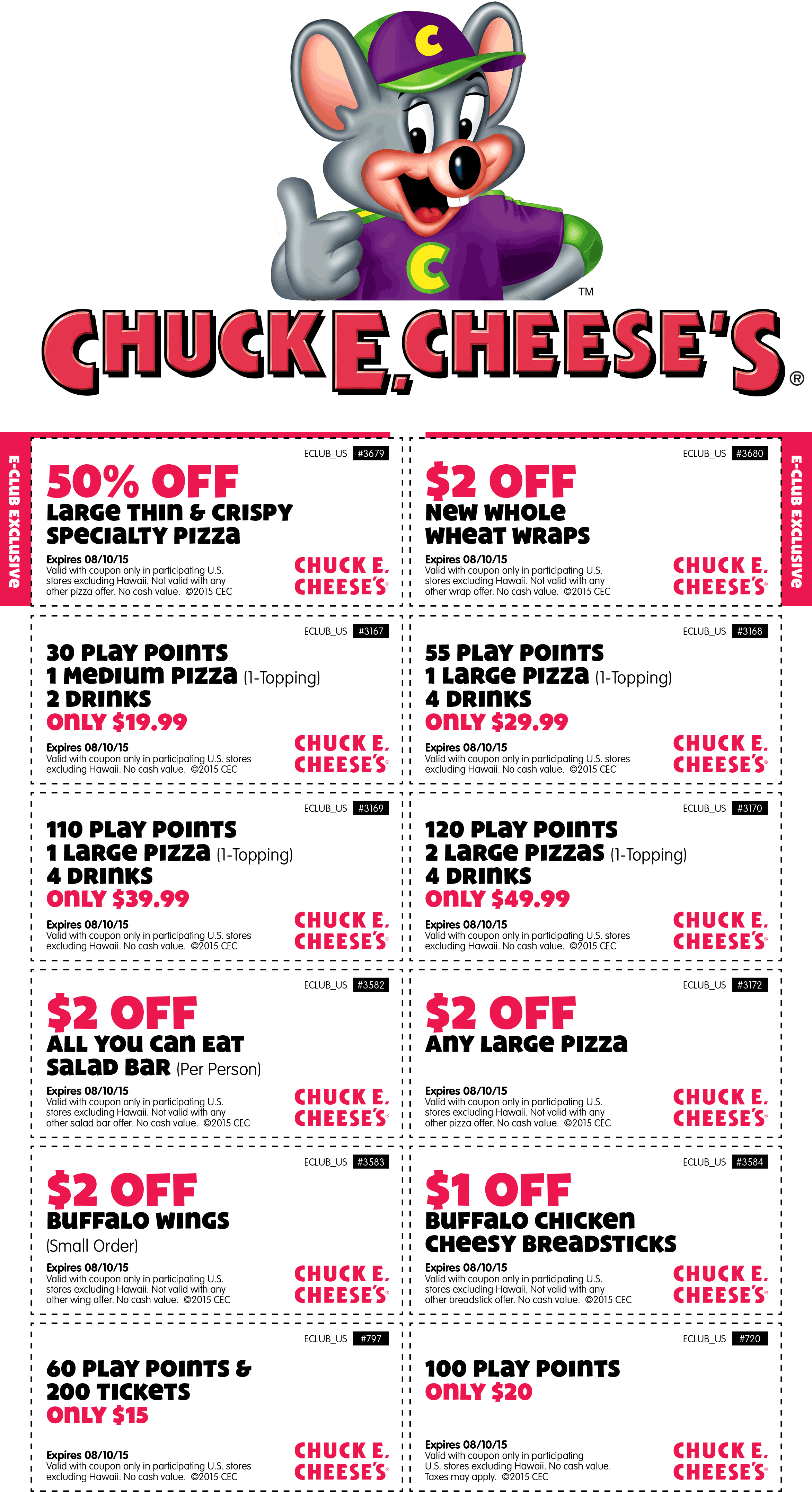Chuck E. Cheese Coupon January 2017 50% off large pizza, 100 tokens just $20 & more at Chuck E. Cheese
