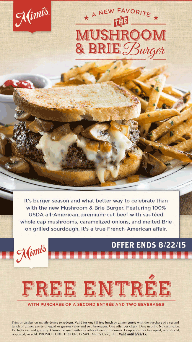 Mimis Cafe Coupon December 2017 Second entree free at Mimis Cafe