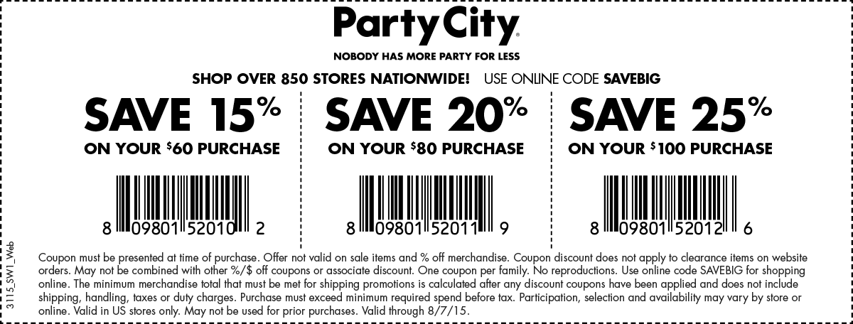 Party City Coupon September 2018 15-25% off $60+ at Party City, or online via promo code SAVEBIG