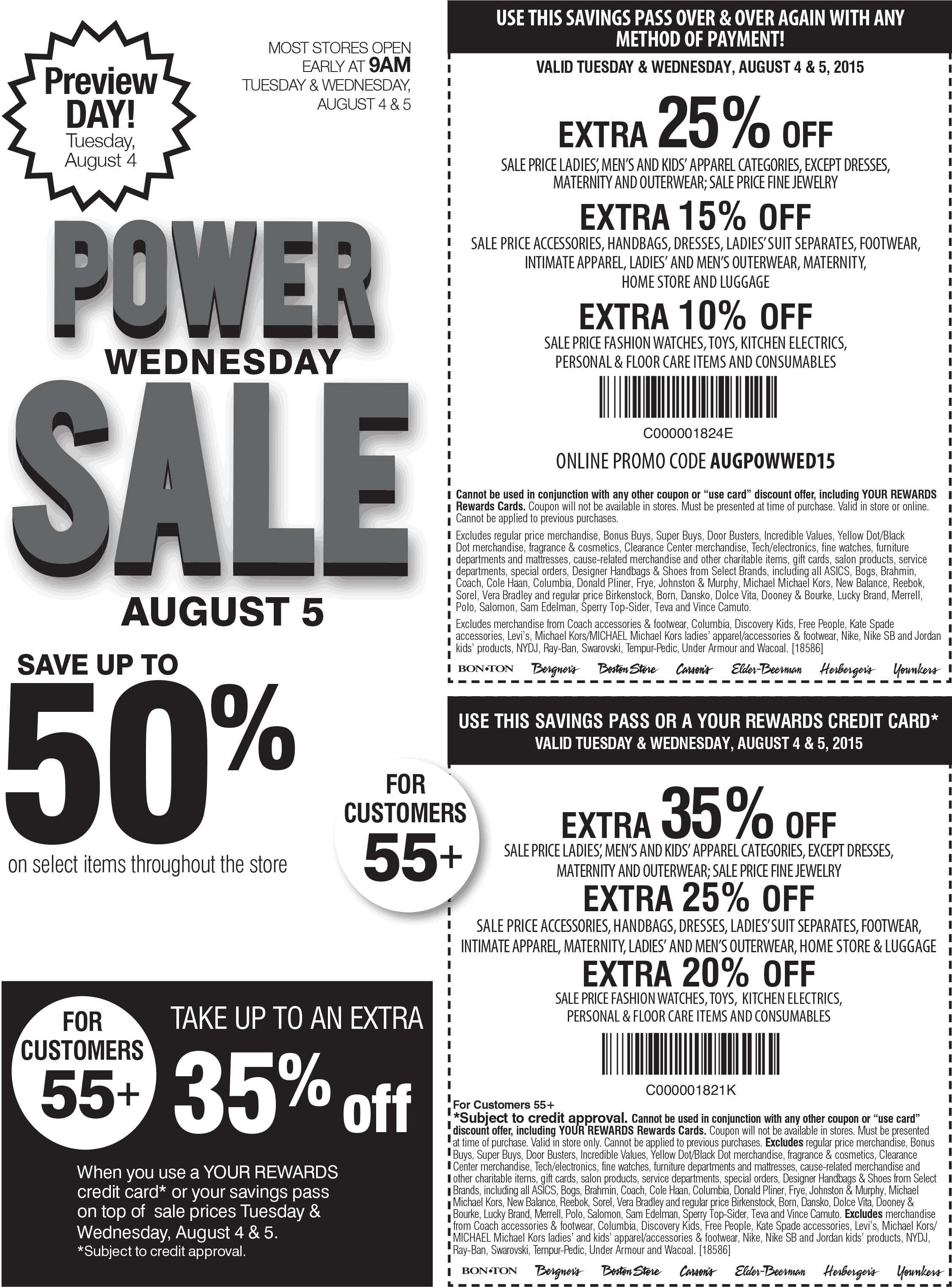 Carsons Coupon May 2017 Extra 25% off sale apparel & more today at Carsons, Bon Ton & sister stores, or online via promo code AUGPOWWED15