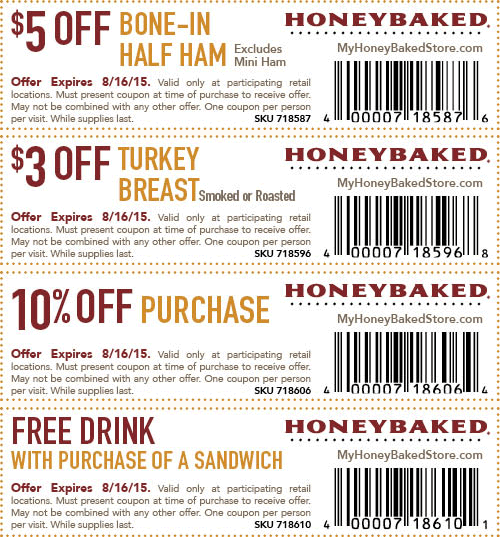 HoneyBaked Ham Coupon September 2018 Free drink with your sandwich, $5 off ham & more at HoneyBaked Ham