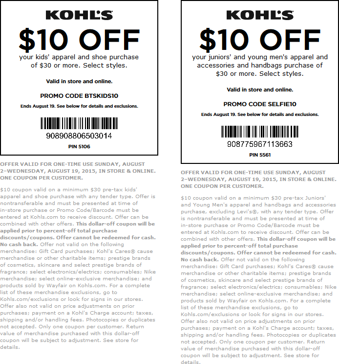 Kohls Coupon July 2018 $10 off $30 on back-to-school at Kohls, or online via promo code BTSKIDS10