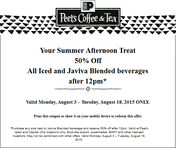 Peets Coffee & Tea Coupon June 2019 50% off iced & blended drinks after 12pm at Peets Coffee & Tea