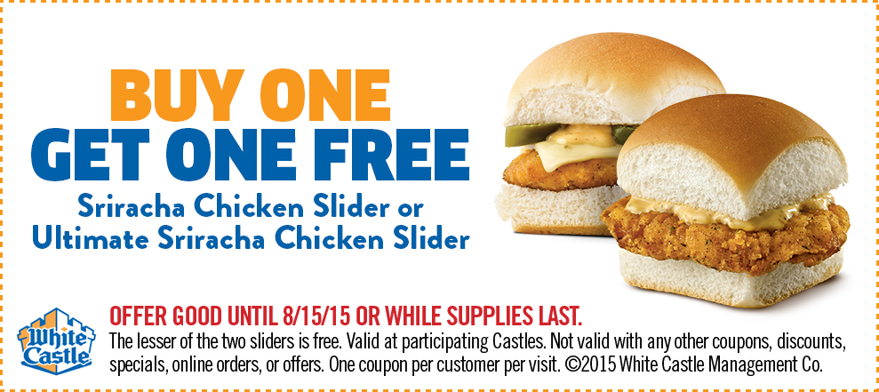 White Castle Coupon December 2018 Second chicken slider free at White Castle