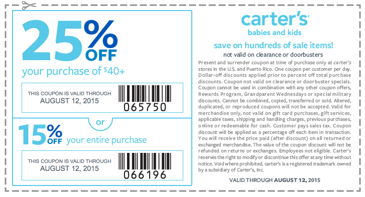 Carters Coupon July 2017 15-25% off at Carters, or online via promo code SAVEAUG & AUGCART