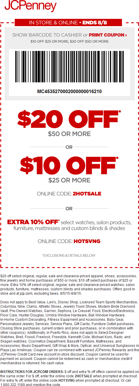 JCPenney Coupon October 2016 $10 off $25 & more at JCPenney, or online via promo code 2HOTSALE