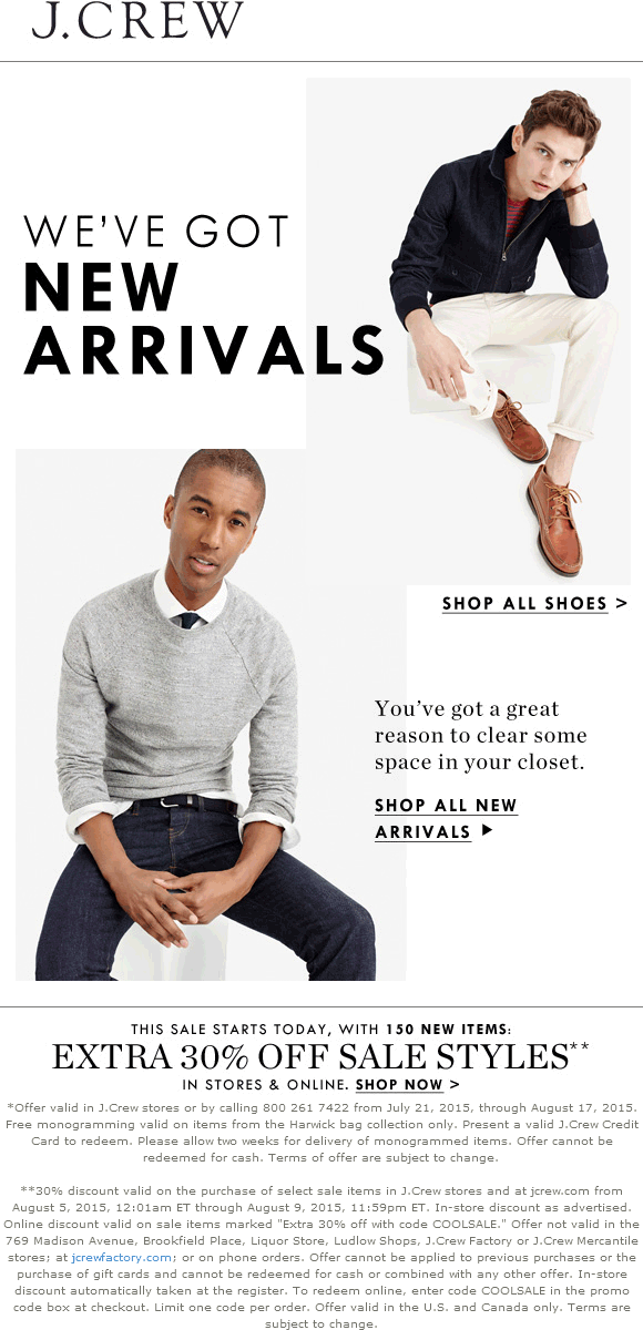 J.Crew Coupon September 2017 Extra 30% off sale items at J.Crew, or online via promo code COOLSALE