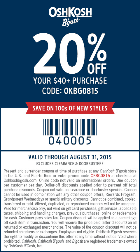 OshKosh Bgosh Coupon August 2019 20% off $40 at OshKosh Bgosh, or online via promo code OKBG0815